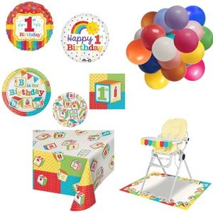 1st Birthday Party Kit Plates High Chair Balloons